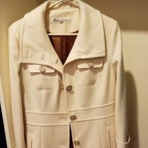 Kenneth Cole off white ivory cream pea coat wool 4